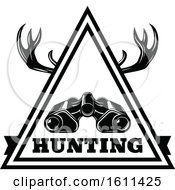 Clipart Of A Black And White Binoculars Deer Antlers And Hunting Design Royalty Free Vector Illustration by Vector Tradition SM