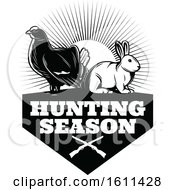 Clipart Of A Black And White Grouse And Rabbit Hunting Design Royalty Free Vector Illustration