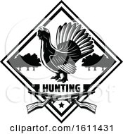 Clipart Of A Black And White Bird Hunting Design Royalty Free Vector Illustration