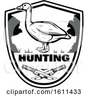 Clipart Of A Black And White Goose Hunting Design Royalty Free Vector Illustration by Vector Tradition SM