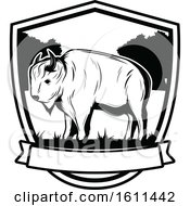 Clipart Of A Black And White Bison Hunting Design Royalty Free Vector Illustration by Vector Tradition SM
