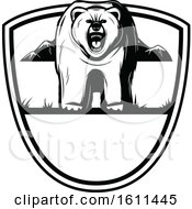 Clipart Of A Black And White Bear Hunting Design Royalty Free Vector Illustration by Vector Tradition SM