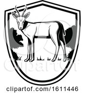 Clipart Of A Black And White Antelope Hunting Design Royalty Free Vector Illustration