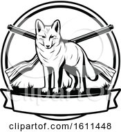 Clipart Of A Black And White Wolf Hunting Design Royalty Free Vector Illustration by Vector Tradition SM