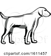 Clipart Of A Black And White Hunting Dog Royalty Free Vector Illustration by Vector Tradition SM