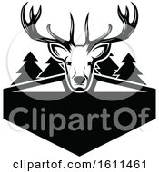 Clipart Of A Black And White Deer Hunting Design Royalty Free Vector Illustration