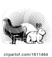 Clipart Of A Black And White Grouse And Rabbit Royalty Free Vector Illustration
