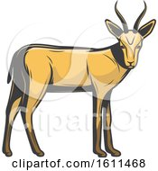 Clipart Of An Antelope Hunting Design Royalty Free Vector Illustration