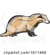 Clipart Of A Badger Hunting Design Royalty Free Vector Illustration