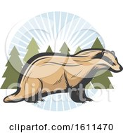 Clipart Of A Badger Hunting Design Royalty Free Vector Illustration by Vector Tradition SM