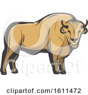 Clipart Of A Bison Hunting Design Royalty Free Vector Illustration by Vector Tradition SM