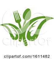 Clipart Of A Vegetarian Food Design With A Spoon Fork And Leaves Royalty Free Vector Illustration
