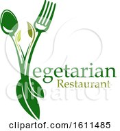 Clipart Of A Vegetarian Restaurant Design With A Spoon Fork And Leaves Forming The Letter V Royalty Free Vector Illustration