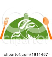 Clipart Of A Vegetarian Food Design With A Spoon Fork And Cloche Royalty Free Vector Illustration