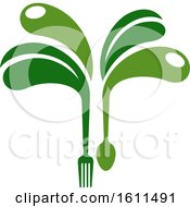 Clipart Of A Vegetarian Food Design With A Spoon Fork And Abstract Leaves Royalty Free Vector Illustration