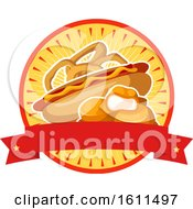 Clipart Of A Chicken Nuggets Onion Rings And Hot Dog Design Royalty Free Vector Illustration by Vector Tradition SM