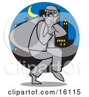 Quiet Burglar Carrying A Sack Of Stolen Goods And Tiptoeing Through A City Under A Crescent Moon At Night Clipart Illustration by Andy Nortnik