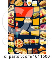 Clipart Of A Food Background Royalty Free Vector Illustration