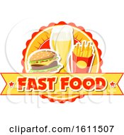Poster, Art Print Of Fast Food Burger Fries And Beer Design