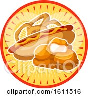 Clipart Of A Chicken Nuggets Onion Rings And Hot Dog Design Royalty Free Vector Illustration
