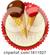 Poster, Art Print Of Dipped Waffle Cone Ice Cream Design