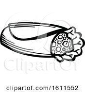 Clipart Of A Black And White Burrito Royalty Free Vector Illustration