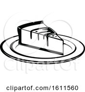 Clipart Of A Black And White Slice Of Cheesecake Royalty Free Vector Illustration