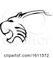 Clipart Of A Profiled Angry Big Cat Mascot Royalty Free Vector Illustration