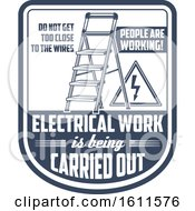 Clipart Of A Blue And White Electrical Work Shield Royalty Free Vector Illustration