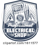 Clipart Of A Blue And White Electrical Shop Shield Royalty Free Vector Illustration