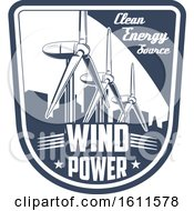 Clipart Of A Blue And White Wind Power Shield Royalty Free Vector Illustration