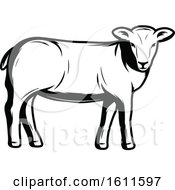 Clipart Of A Black And White Sheep Royalty Free Vector Illustration by Vector Tradition SM