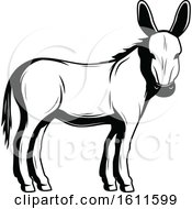Clipart Of A Black And White Donkey Royalty Free Vector Illustration by Vector Tradition SM