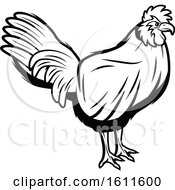 Clipart Of A Black And White Rooster Royalty Free Vector Illustration by Vector Tradition SM