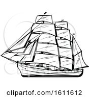 Clipart Of A Black And White Ship Royalty Free Vector Illustration
