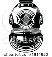Clipart Of A Black And White Nautical Diving Helmet Royalty Free Vector Illustration