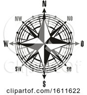 Clipart Of A Black And White Compass Royalty Free Vector Illustration by Vector Tradition SM