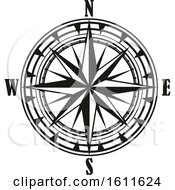 Clipart Of A Black And White Directional Compass Rose Royalty Free Vector Illustration
