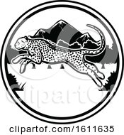 Clipart Of A Black And White Leaping Cheetah And Circle Design Royalty Free Vector Illustration