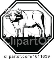 Clipart Of A Black And White Water Buffalo Design Royalty Free Vector Illustration