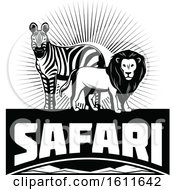Clipart Of A Black And White Zebra And Male Lion Over Safari Text Royalty Free Vector Illustration