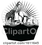 Clipart Of A Black And White Giraffe Elephant And Hippo Royalty Free Vector Illustration by Vector Tradition SM