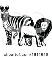 Clipart Of A Black And White Zebra And Male Lion Royalty Free Vector Illustration