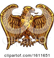 Clipart Of A Sketched Golden Eagle Royalty Free Vector Illustration
