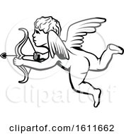 Clipart Of A Black And White Cupid Royalty Free Vector Illustration by Vector Tradition SM