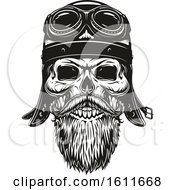 Clipart Of A Black And White Biker Skull Royalty Free Vector Illustration