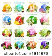 Clipart Of A Chart Of Vitamins From Produce Royalty Free Vector Illustration