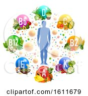 Clipart Of A Silhouetted Person In A Chart Of Vitamins From Produce Royalty Free Vector Illustration