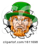 Leprechaun Mascot Cartoon Ripping Background