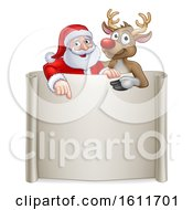 Christmas Santa Claus And Reindeer Cartoon Sign